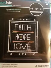 Faith, Hope, Love - NEW Stamped Cross Stitch Kit - Artiste - Kooler 1215508