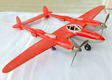 Hubley Diecast P-38 P38 Fighter No. 881 Red with Silver Trim and Original Box