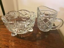 Vintage pressed glass 3 feet sugar bowl and milk jug, ideal for cafe/weddings