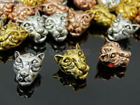 Solid Metal Tiger Head Bracelet Necklace Connector Charm Beads Silver Gold Rose