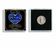 Personalised 45th Wedding Anniversary Lucky Sixpence Keepsake & Display Case W72
