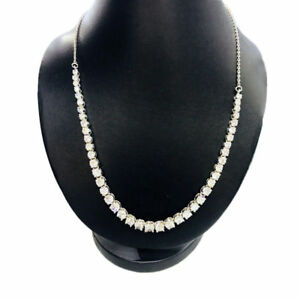 15.00 Ct Diamond String Tennis Necklaces 14K White Gold Finish 17 Inches