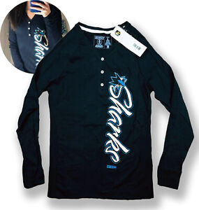NHL San Jose Sharks Women's CCM 3 Button Long Sleeve Shirt, Black, NWT MSRP $55