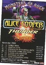 ALICE COOPER / THUNDER 2002 TOUR UK FLYER / mini Poster 8x6 inches