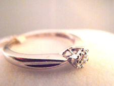 9ct White Gold Ladies Solitaire 0.05ct Diamond Ring Size P  1.9gm  Secondhand