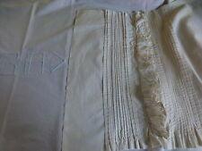 LOT COUTURIéRE RETOUR DRAP BRODé MONO=BA+devant decorsage ancien,plis religieuse