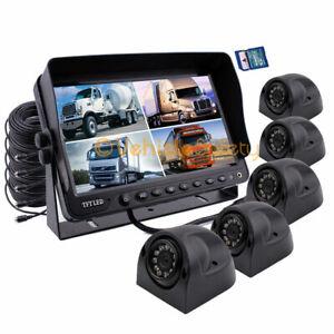 "9"" Quad Monitor DVR Video Recorder 5 x  Side Camera 64GB For Truck Van System"