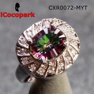 Mystic Sapphire Rainbow Topaz Ring 925 sterling silver overlay Gmestone 0072