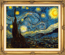 Van Gogh Starry Night Antique Gold Linen Liner Frame Canvas Giclee Repro 41x29