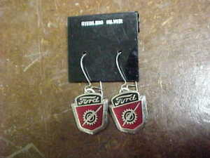 1950s FORD TRUCK CREST STERLING SILVER EARRINGS MINT HAND CRAFTED IN THE USA!!
