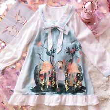 Vintage Kawaii Sweet Lolita Mori Girl Princess Alice print Dress Preppy Style
