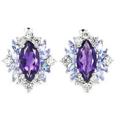 Sterling Silver 925 Genuine Amethyst, Tanzanite & Lab Diamond Stud Earrings