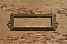 Antiqued brass file cabinet label holder name holder plan chest map drawer LH1
