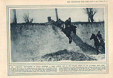 1915 WWI PRINT ~ GREAT JUMPING TEST AT CAVALRY SCHOOL TOR DI QUINTO ROME ITALY