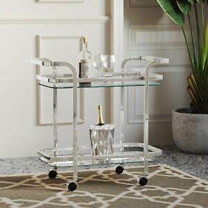 Modern Glam Silver Metal Glass Bar Cart Kitchen Serving Cart Home Bar Trolley