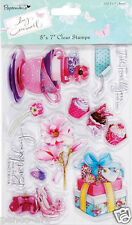 Clear papermania stamp set of 10 stamps Lucy Cromwell Teacups cupcakes flowers