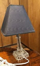 Antique! Clear GLASS Art Deco Table LAMP With Shade WORKING Home Decor OFFICE