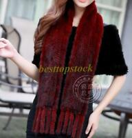 100% Real Genuine Knit Mink Fur Stole Cape Shawl Scarf Coat Womens Winters Sz