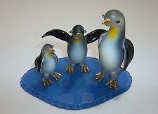 Vintage Art Glass EMPEROR PENGUINS Blue ICEBERG Figurine