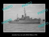 OLD POSTCARD SIZE PHOTO OF AUSTRALIAN NAVY SHIP HMAS MILDURA c1950