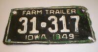 Vintage 1949 Iowa Embossed Tin / Metal Waffle Farm Trailer License Plate 31-317