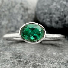 Green Tourmaline 925 Sterling Silver Ring s.8.5 Jewelry 6308