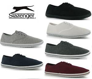 Slazenger Mens LACE UP Canvas Pumps Plimsolls Shoes Trainers 6 Colours Sz:7-15