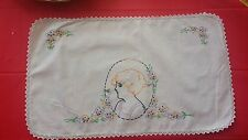 Vintage Hand Embroidery Lady Floral Rectangle Fabric Doilie Free Shipping