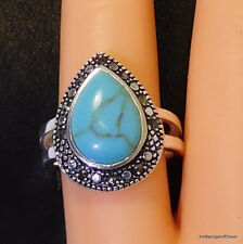 Marcasite Fine Silver & Pear Shaped Turquoise Ring sz 7 NEW