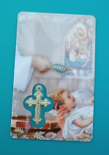 BAPTISM PRAYER CARD w/ Encased Gold Cross - Hard Gloss Plastic Catholic Gifts