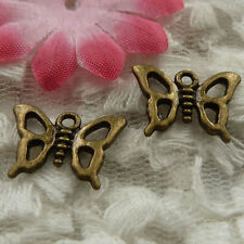 free ship 100 pieces bronze plated butterfly charms 16x12mm #4117