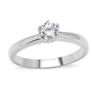 Stainless Steel Cubic Zirconia  Promise Ring Sizes 7 8 Silver Fashion Ring
