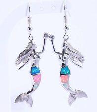 ****PERFECT***Silver/Rhodium Plated MULTI-COLOUR FIRE OPAL/CZ Mermaid Earrings