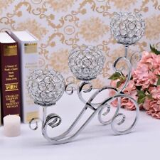 Iron Crystals Candle Holder 3-stand Table Centerpiece Decoration Candlestick New