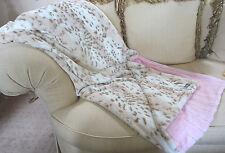 KVH by Kelly Van Halen Blanket Snow Leopard/Pink Minky Faux Fur Jr Throw