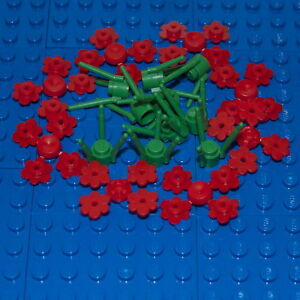 LEGO: Pack of 10 Green Stems & 32 Red Flowers. ( 3741 / 3742 ). BRAND NEW.