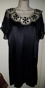 Gorgeous Black & Ivory Silk Dress Smock Shift TEATRO size 18