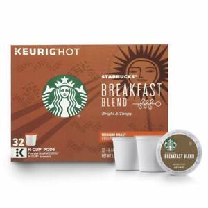 (QTY 64) Starbucks Keurig K-cup Breakfast Blend Medium Roast Ground Coffee.