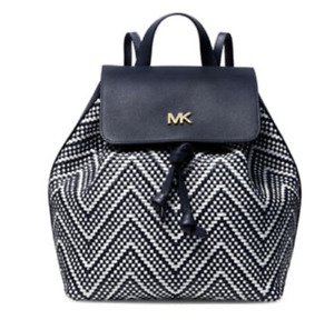 NWT $358 Michael Kors Junie Admiral/White Medium Flap Woven Leather Backpack