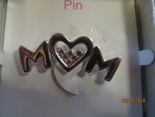 "Noc Mother'S Day ""Mom"" Silvertone Dress Pin Brooch 2 Inch Pink Crystals"