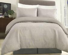Jacquard Grey Silver Quilt Cover Set Doona Duvet DOUBLE Geometric Lines NEW