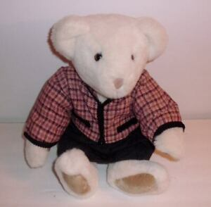 """1993 Vermont Teddy Bear 18"""" plush in Vermont Teddy Bear outfit; VINTAGE"""