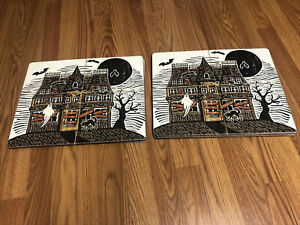 Pottery Barn Haunted House Cork Placemats 8