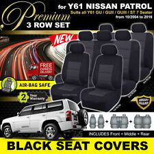 Premium BLACK SEAT COVERS NISSAN PATROL Y61 3ROWs GU GU2 GU3 GU4 ST 10/2004-2017