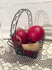 Green Wire Basket with Apple Candles Faux Red  Apples