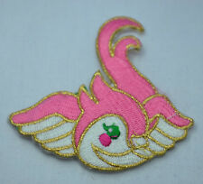 PRETTY PINK BIRD SWALLOW 8cm Embroidered Iron Sew On Cloth Patch Badge APPLIQUE