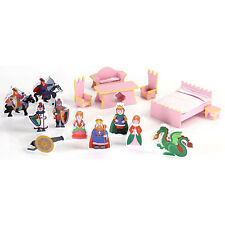 Princess Castle Playset Wooden Dolls Wood Play Set Toy Toys Figurines Accessory
