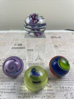 Lot 4  1.54 In  Each Large Handmade Marbles Unknown Brand Swirls
