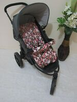 Pram liner set,universal,100% cotton fabric-Vintage flowers,black-Funky babyz