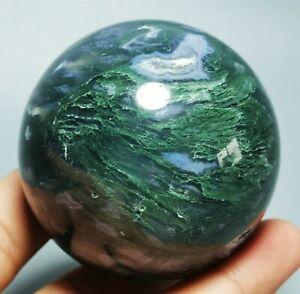 Raw NATURAL Moss Agate QUARTZ Geode CRYSTAL sphere BALL HEALING